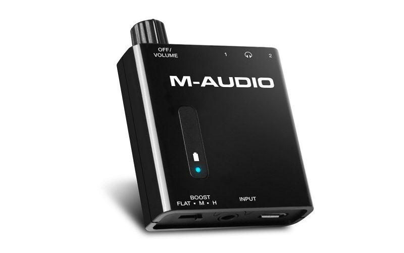 M-Audio Bass Traveler | Portable Powered Headphone Amplifier with Dual Outputs and 2-Level Boost