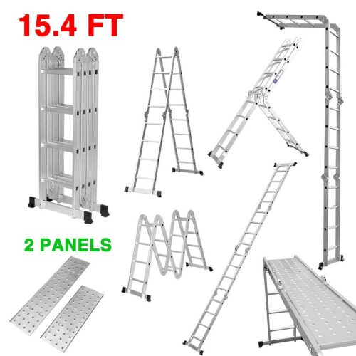 Finether 15.4ft Heavy Duty Multi Purpose Aluminum Folding Extension Ladder with Safety Locking Hinges and 2 Panels 330lb Capacity (New Non-slip Mat and Wheels for Free)