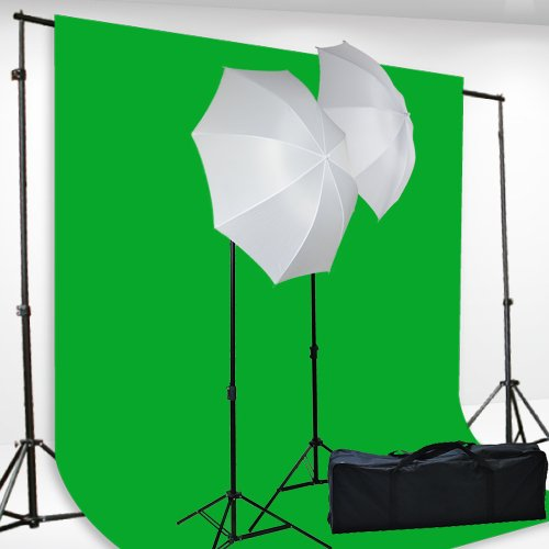 "Chromakey Green Screen Kit Lighting Kit 400 Watt Video Lighting Kit by fancierstudio - 6x9-Feet Green Screen (H69G)<div class=""amz-buttons"">