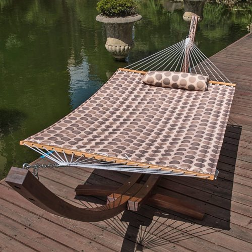 """Lazy Daze Hammocks 55"""" Double Quilted Fabric Hammock Swing with Pillow (Romantic Coffee Bean)"""