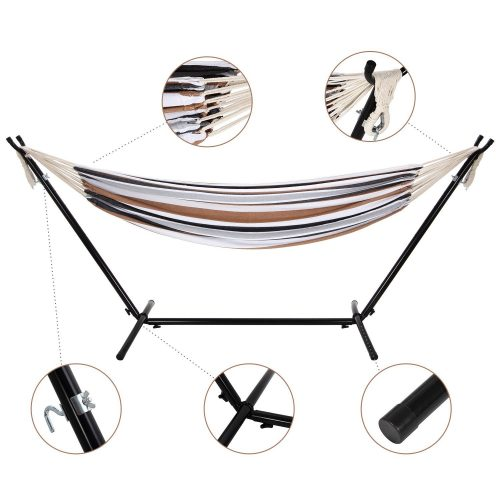 Ollieroo Double Hammock with Space-saving Steel Stand and Carrying Case 450lb Capacity Coffee Stripe