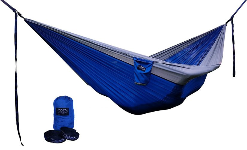 Potomac Banks Double Parachute Hammock with Carabiners and FREE Pair of Quick Set Up Adjustable 16 Loop Tree Friendly Straps Quick Dry Lightweight Nylon for Travel Hiking Camping or Backyard Lounging Relaxing
