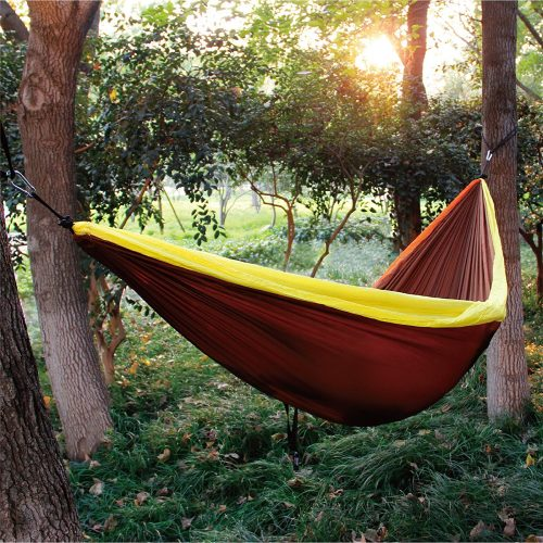 ALPHA CAMP Double Camping Hammock Parachute Hammock with Tree Straps Ultralight Portable for Backpacking Travel Hiking Beach Yard, Orange