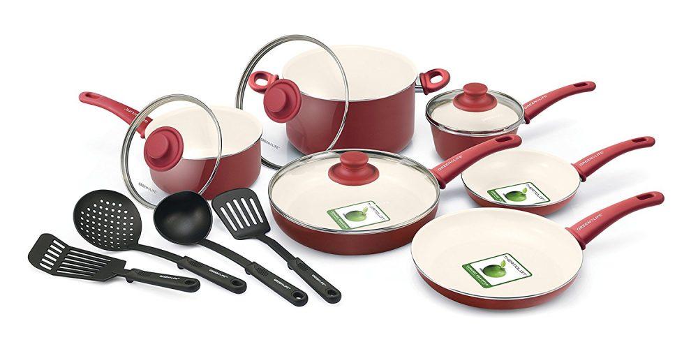 GreenLife Soft Grip 14pc Ceramic Non-Stick Cookware Set - ceramic cookware sets