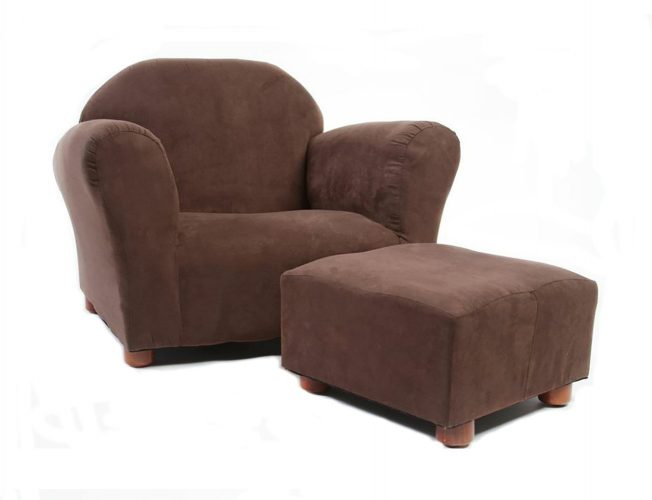 KEET Roundy Child Size Chair with Microsuede Ottoman, Brown - Toddler Chairs