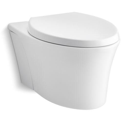 KOHLER K-6299-0 Veil Wall-Hung Elongated Toilet Bowl, White - Wall Mounted Toilet