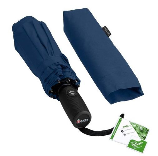 Repel Windproof Travel Umbrella with Teflon Coating (Navy Blue) - Compact umbrella