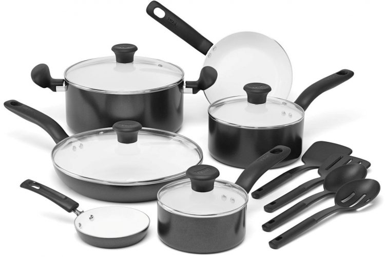 T-fal C996SE Initiatives Nonstick Ceramic Coating PTFE PFOA and Cadmium Free Scratch Resistant Dishwasher Safe Oven Safe Cookware Set, 14-Piece, Black