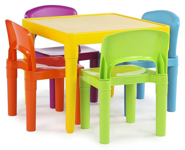 Tot Tutors Kids Plastic Table and 4 Chairs Set, Vibrant Colors - Toddler Chairs
