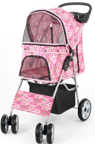 VIVO Four Wheel Pet Stroller, for Cat, Dog, and More, Foldable Carrier Strolling Cart, Multiple Colors