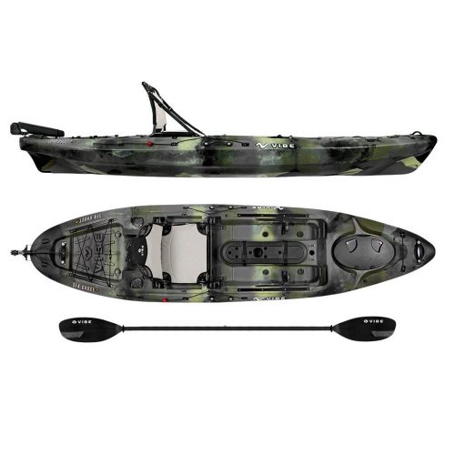 Vibe Kayaks Sea Ghost 110 11 foot Angler Sit On Top Fishing Kayak with Paddle and Dual-Position Hero Seat, and Rudder System Included