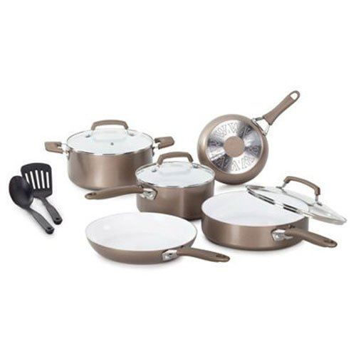 WearEver C944SA Pure Living Nonstick Ceramic Coating Scratch-Resistant PTFE PFOA and Cadmium Free Dishwasher Safe Oven Safe Cookware Set, 10-Piece, Gold