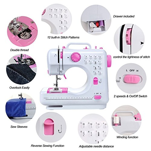 6. Costway Sewing Machine Household Multifunction Double Thread And Speed Free-Arm Crafting Mending Machine Pink White (12 Built-In Stitches)