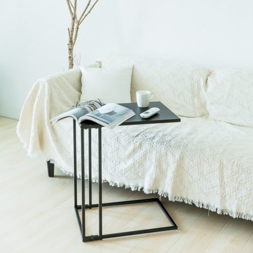 C-Hopetree Sofa Side Table Metal Snack Laptop C Shape End Table Coffee Table for Living Room, Black.