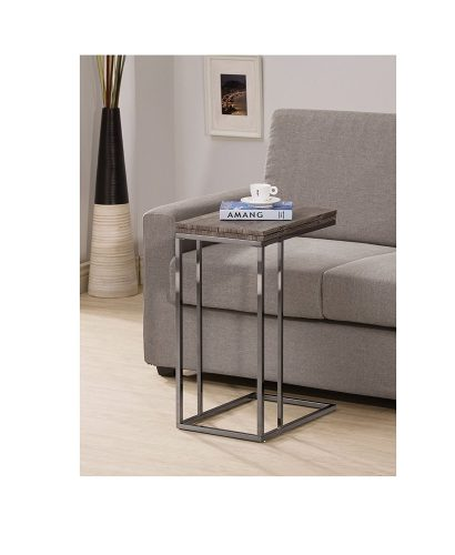 Weathered Grey Finish Expandable Snack Side End Table.
