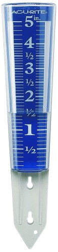 AcuRite 00850A2 5-Inch Capacity Easy-Read Magnifying Rain Gauge.