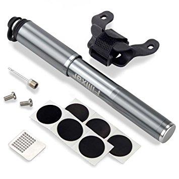 Filixar Mini Bike Pump Portable 160 PSI, Bicycle Pump, Bike Tire Pump, Soccer Ball Pump Needle Included, Bike Air Pump, Compatible Schrader Presta Bike Pump, Bicycle Tire Pump – Grey