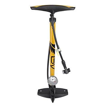 BV Bicycle Ergonomic Bike Floor Pump with Gauge & Smart Valve Head, 100 psi, Automatically Reversible Presta and Schrader