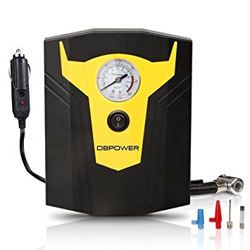 DBPOWER 12V DC Portable Electric Auto Air Compressor Pump to 150 PSI, Tire Inflator Gauge, 3 High-air Flow Nozzles & Adaptors for Cars, Bicycles, and Basketballs (Black and Yellow)