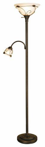 Normande Lighting JM1-884 71-Inch 100-Watt Incandescent Torchiere Floor Lamp with 40-Watt Side Reading Lamp
