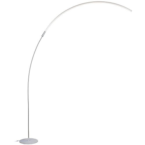 Brightech Sparq Arc LED Floor Lamp - Curved, Contemporary Minimalist Sleek Lighting –Glowing Warm White Light for Living Room, Bedroom, Dorm, or Office- Energy Efficient Dimmable Arched – Silver