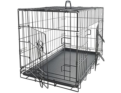 Paws Dog Crate Double-Door Folding Metal - Wire Cage w/ Divider for coaching Pets