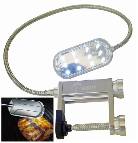 Oasity All-Purpose BBQ Light - 12-LED Light Barbecue Grill Light - Premium Sturdy Aluminum Construction - Doubles As A Work Light - 3 'AAA' Alkaline Batteries Included - 12 Month Warranty