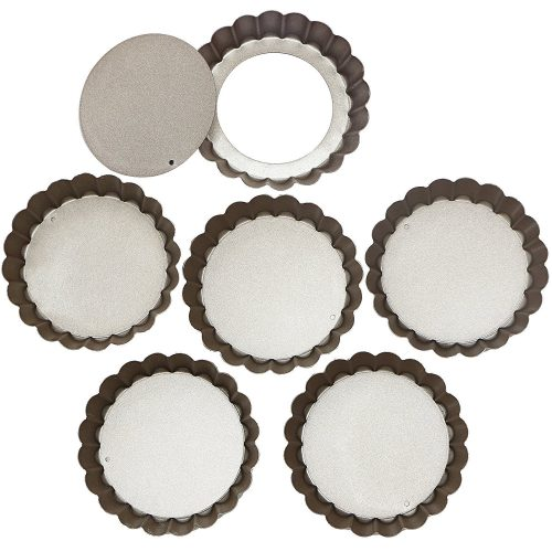 Webake 4 Inch Quiche Pans Removable Bottom Mini Tart Pans Set of 6