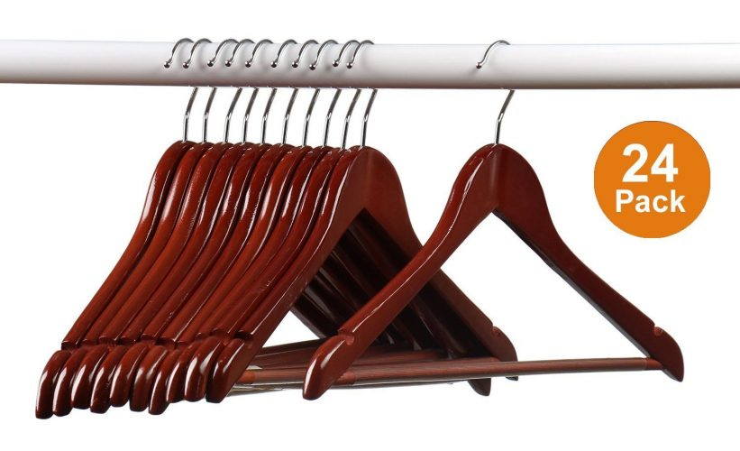 Home-it (24) Pack Solid Wood Clothes Hangers, Coat Hanger Mahogany Wooden Hangers
