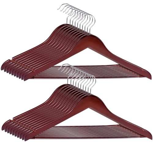 Wood Hangers 20-Pack,Royalhanger Suit Hangers Coat Hanger Wooden Hangers for Pants Skirt Coat Trouser, Non-Slip, Walnut Finish