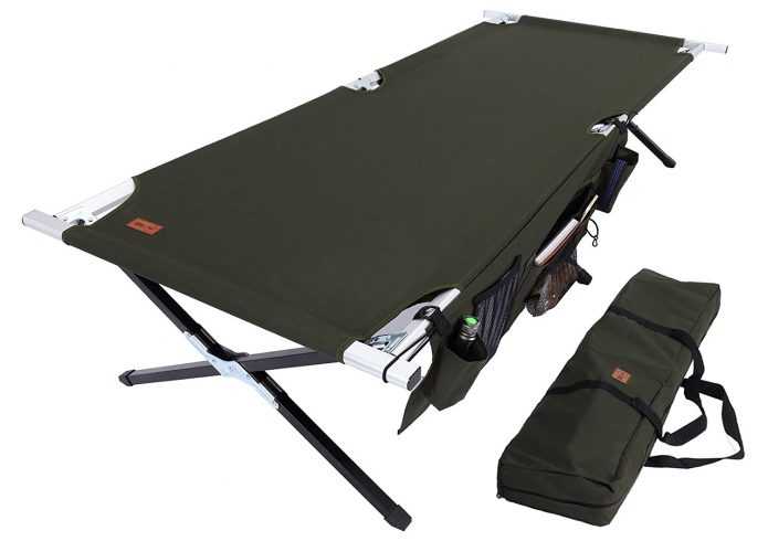 Camp Cot [XL] with Free Organizer & Storage Bag - Military Style Folding Bed for Camping, Traveling, Hunting, and Backpacking - Lightweight, Heavy-Duty & Portable Cots for Adults