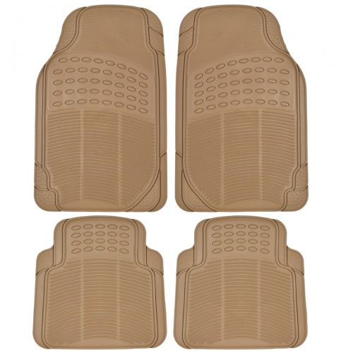 BDK Universal Fit4-Piece Heavy Duty All Weather Protection Floor Mat- Rubber-Beige