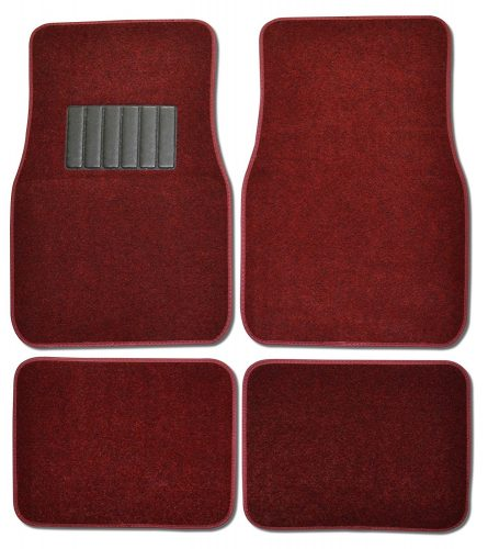 BDK MT-100- BD Burgundy Red Carpeted 4 Piece Car SUV Floor Mats With Vinyl Heel Pad Car Vehicle Universal Fit