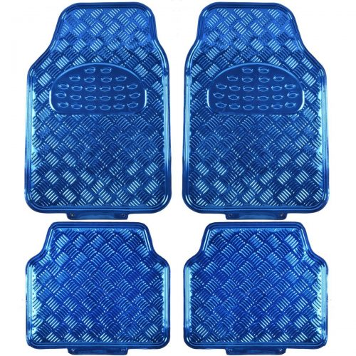 BDK Universal Fit 4-Piece Metallic Design Car Floor Mat-(Blue)