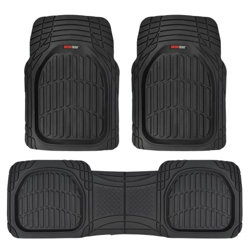 Motor Trend Flex Tough Contour Liner- Deep Dish Heavy Duty Rubber Floor Mats Floor Mats For Car SUV Truck & Van- All-Weather Protection - Black