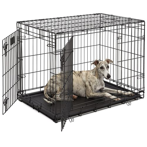 "Middle West Life Stages industrial Folding Metal Dog Crates; Single Door Dog Crates w/ Divider Panel, Floor protective ""Roller"" Feet & Leak-Proof Plastic Pan"