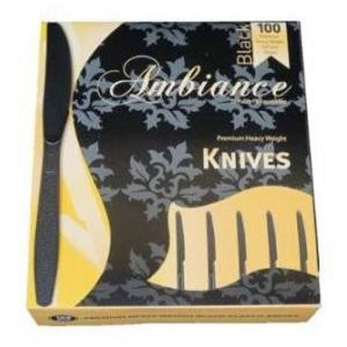 Crystalware Heavy Weight Plastic Knives 100/box, Black