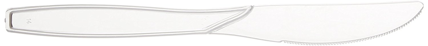 Fineline Settings 100-Piece Extra Heavy Cutlery Knives, Clear
