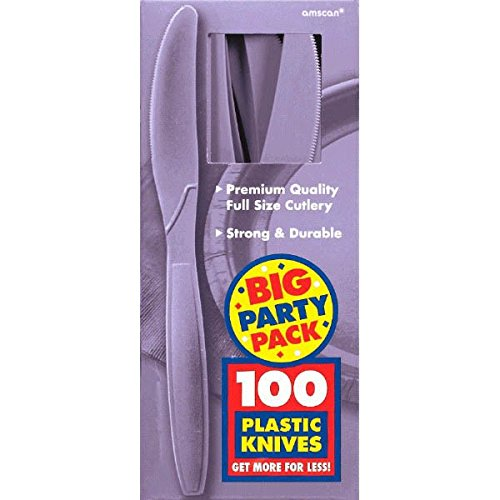 Amscan Big Party Pack 100 Count Mid Weight Plastic Knives, Lavender