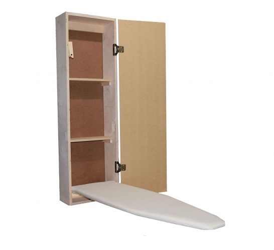 Built-in Ironing Board Cabinet Raw Wood, Iron Storage, Hide Away, Stow, Fold Away, with Routed Door
