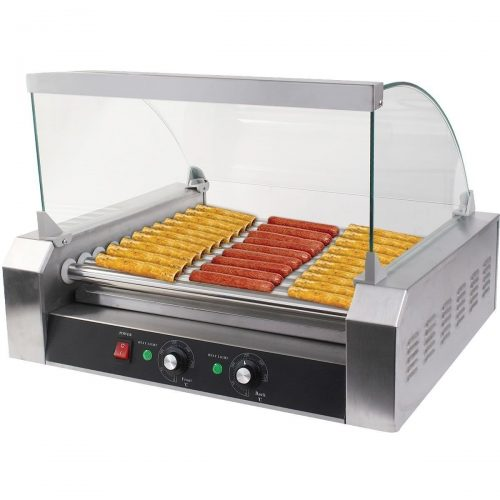 Safeplus Electric Hot-dog Grill Commercial Hotdog Maker Warmer Cooker Grilling Machine with Cover 11-rollers