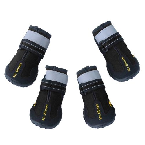 Dog Boots Waterproof Lightweight Pet Dog Shoes Paw Protector with Reflective Velcro Rugged Anti-Slip Sole