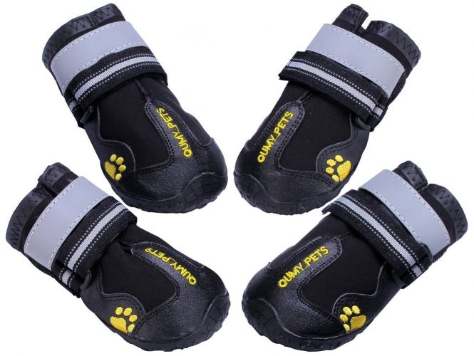 QUMY Dog Boots Waterproof Shoes for big Dogs with Reflective Velcro Rugged Anti-Slip Sole Black 4PCS