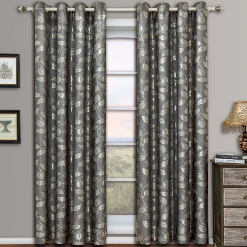 Charlotte Gray Grommet Jacquard Window Curtain Panels, Pair / Set of 2 Panels, 52x96 inches Each, by Royal Hotel