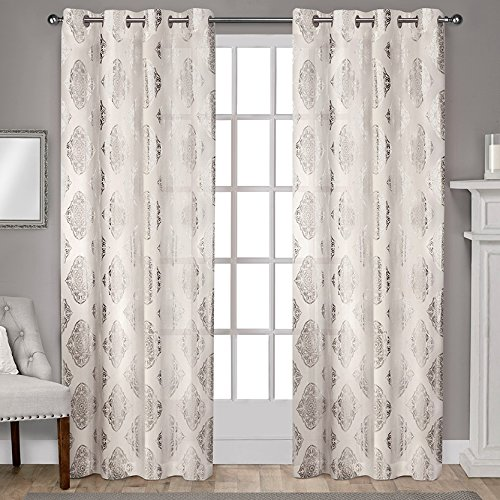 "Exclusive Home Curtains Augustus Grommet Top Window Curtain Panel Pair, 96"" Length, Off-White, 2 Piece"
