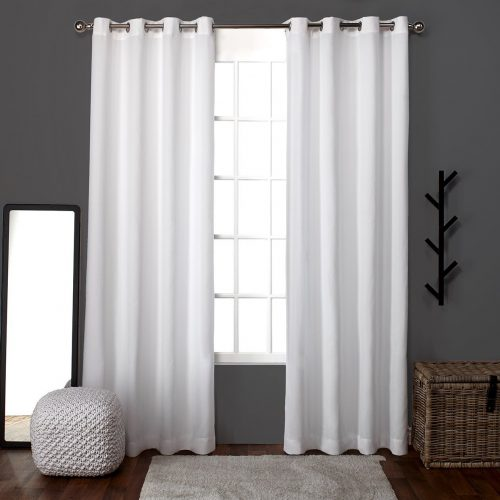 Exclusive Home Loha Linen Window Curtain Panel Pair with Grommet Top, Winter White, 52x96