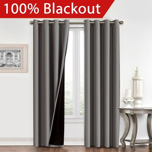 FlamingoP Full Blackout Grey Curtains Faux Silk Satin with Black Liner Thermal Insulated Window Treatment Panels, Grommet Top (52 x 96 Inch, Set of 2)