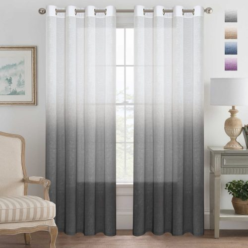 Grey Curtains Natural Linen Mixed Semi-Sheer Curtains 96 Inches Long Beautiful Ombre Sheer Window Elegant Curtains/Drapes/Panels/Treatment, 2 Panels
