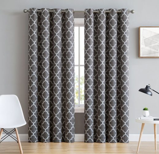 "HLC.ME Lattice Print Thermal Insulated Blackout Window Curtains for Bedroom - Grey - 52"" W x 96"" L - Pair"