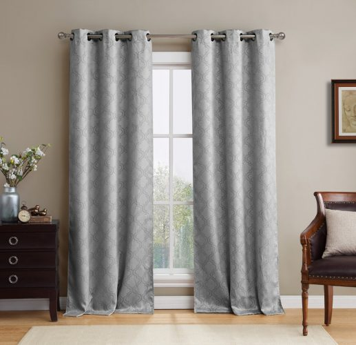 "HLC.ME Lattice Thermal Room Darkening Energy-Efficient Blackout Curtains for Bedroom - Set of 2 - 96"" inch Long (Light Grey)"